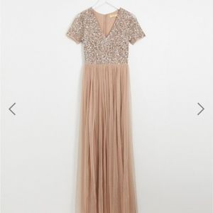 Maya Formal Evening Gown Taupe/Blush Size 4